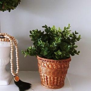 Woven rattan flower pot tan boho vintage style